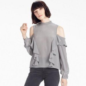 Lucky Brand Silk Cold Shoulder Blouse Gray NWT